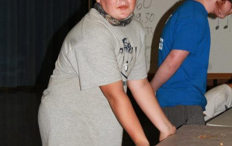 Seventh grader, Brody Schmidt after winning the pie eating contest.