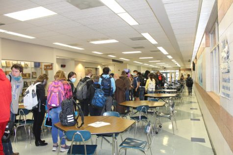 Students in line for Second Chance Breakfast