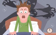 waking up from nightmare -  cartoon of person having bad dreams